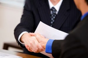 Handshake between business partners.